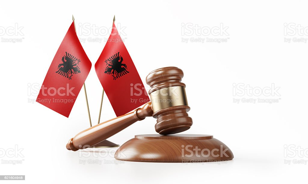 Gavel and Albanian Flags Isolated on White: Albanian Justice Concept stock photo