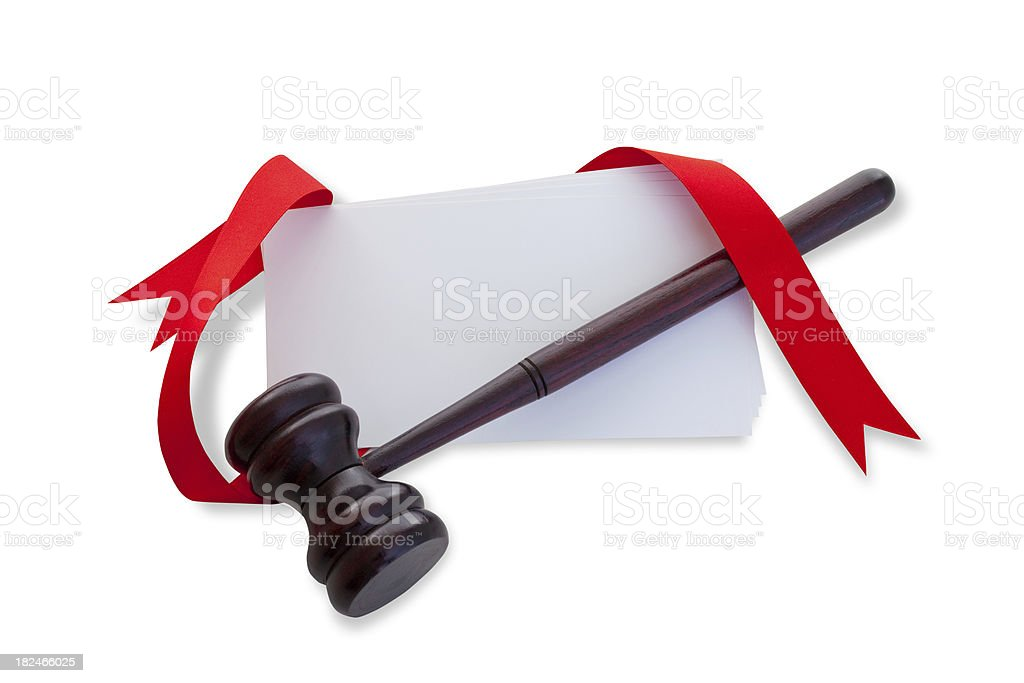 Gavel and blank paper stock photo