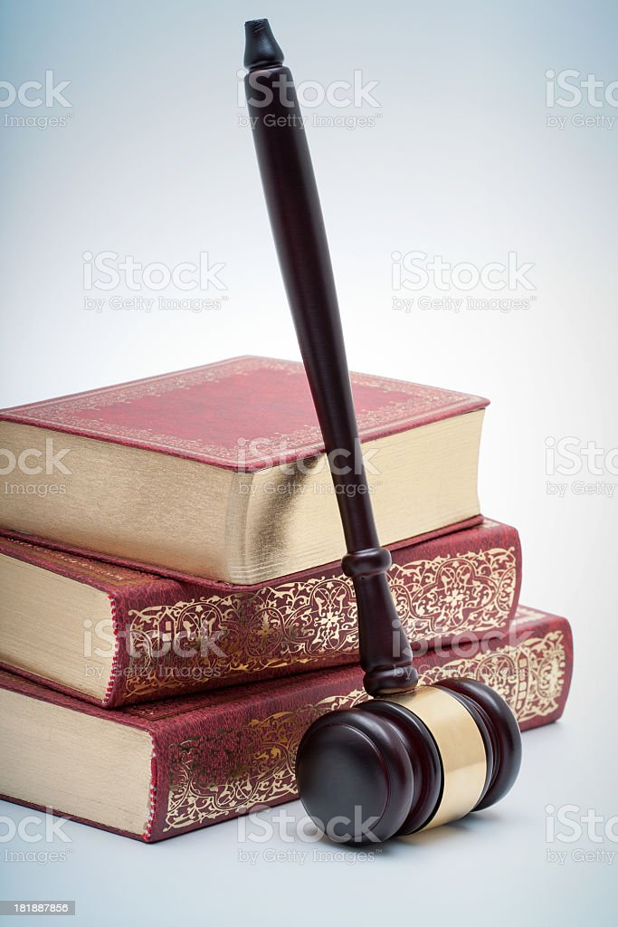 Gavel and books isolated on white background royalty-free stock photo