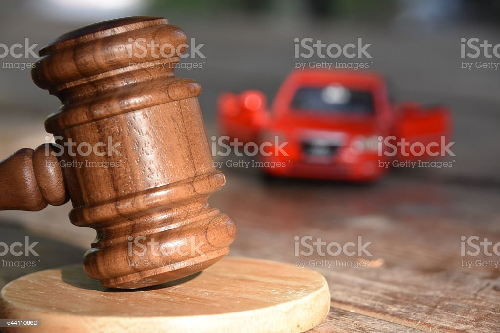 gavel and car stock photo