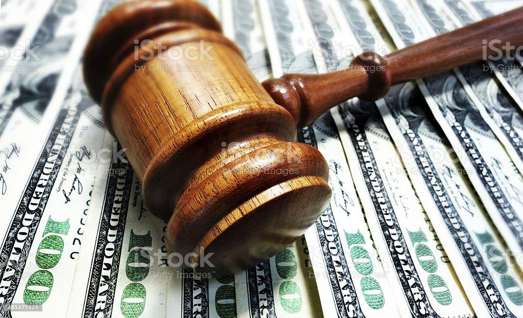 gavel and cash money stock photo