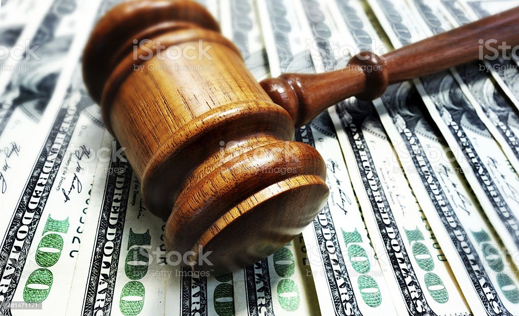 gavel and cash money stock photo