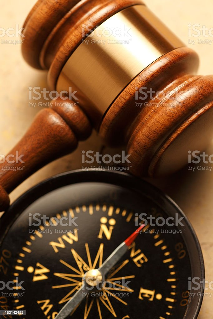 Gavel And Compass Nestled Togehter stock photo