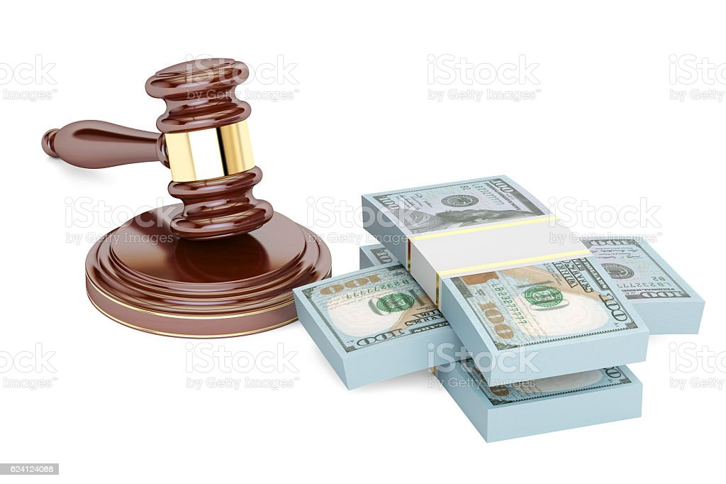 gavel and dollars, law and money concept. 3D rendering isolated stock photo