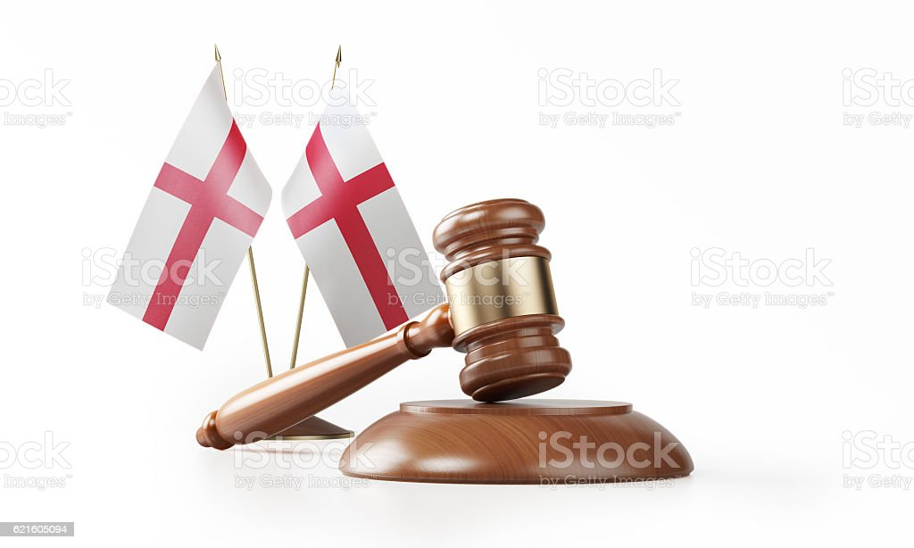 Gavel and English Flags Isolated on White: English Justice Concept stock photo