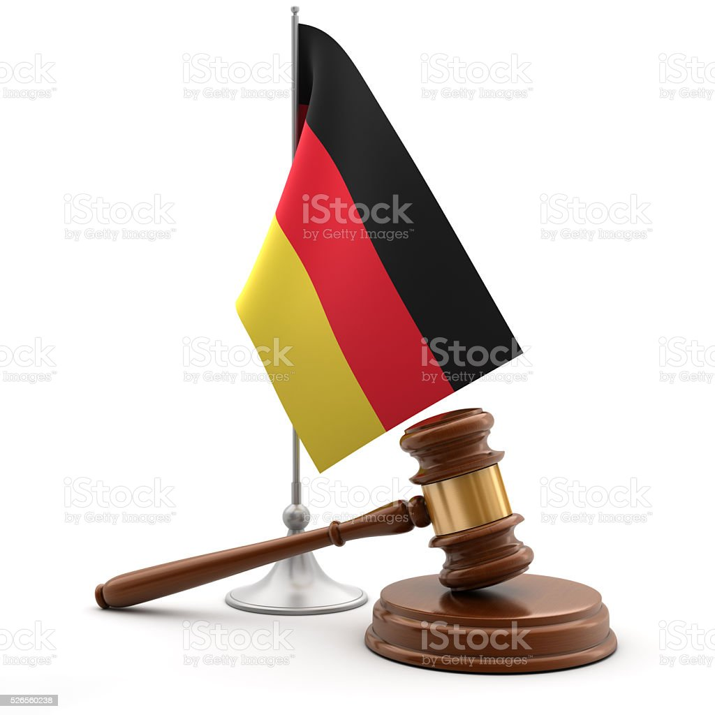 Gavel and flag of Germany stock photo