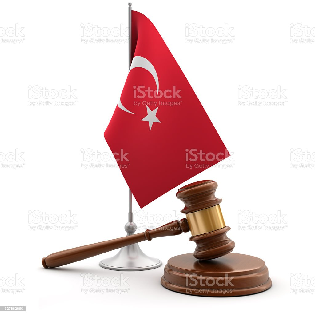 Gavel and flag of Turkey stock photo