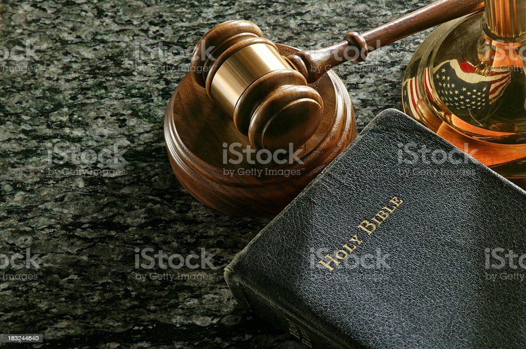 Gavel and Holy Bible stock photo