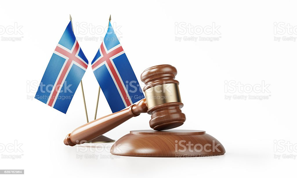 Gavel and Icelandic Flags Isolated on White: Iceland Justice Concept stock photo