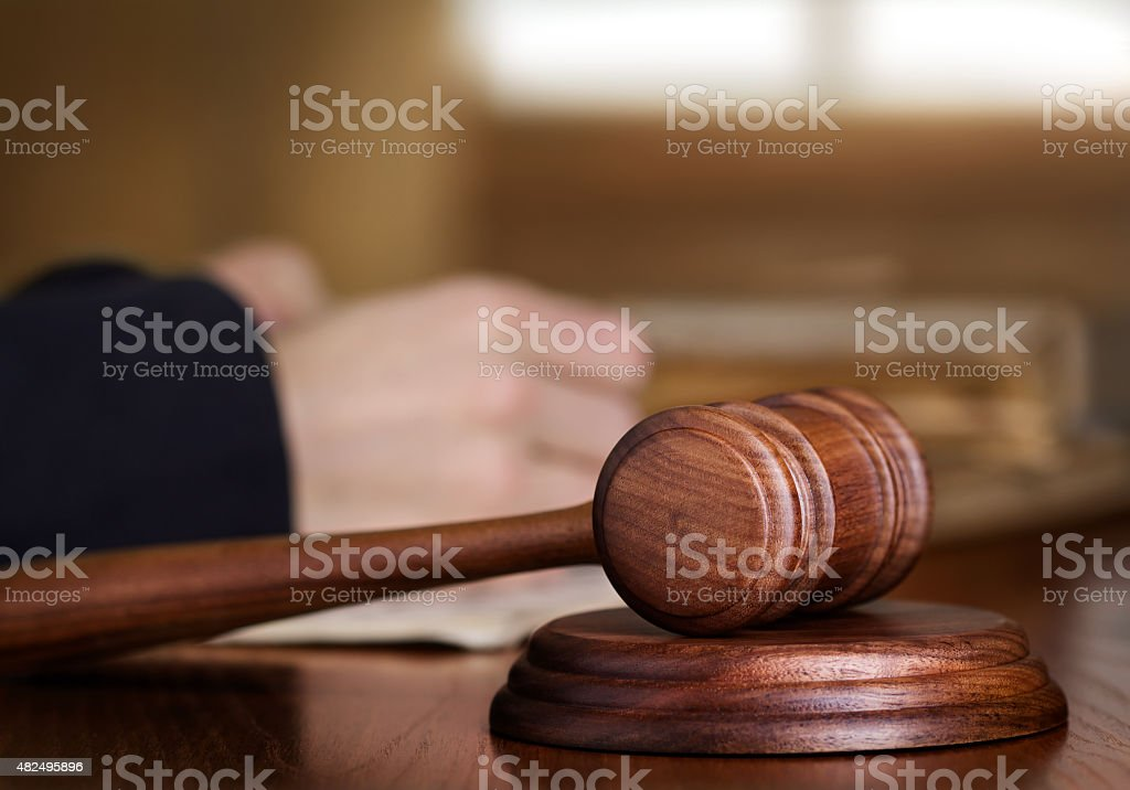 Gavel and judge stock photo