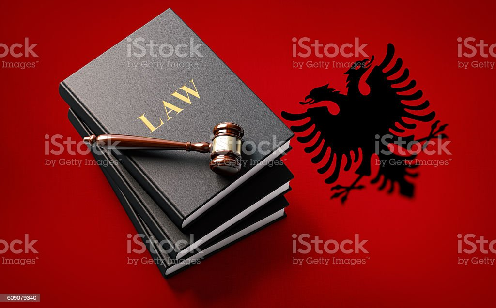 Gavel and Law Books on Albanian Flag: Albanian Justice Concept stock photo
