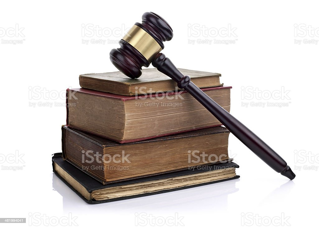 Gavel and law books stock photo
