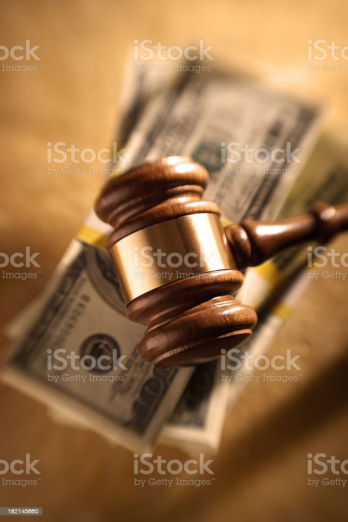 Gavel and Money Stack royalty-free stock photo