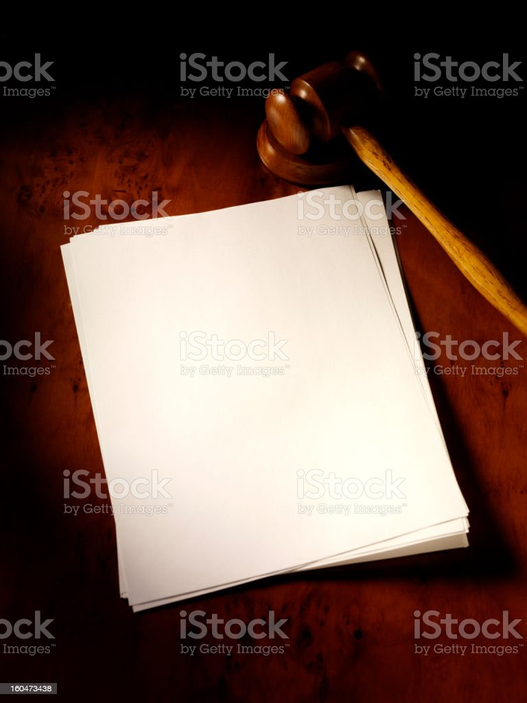 Gavel and Papers royalty-free stock photo