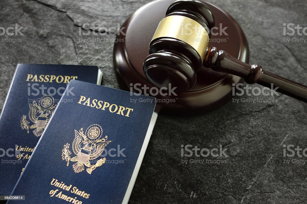 Gavel and passports stock photo