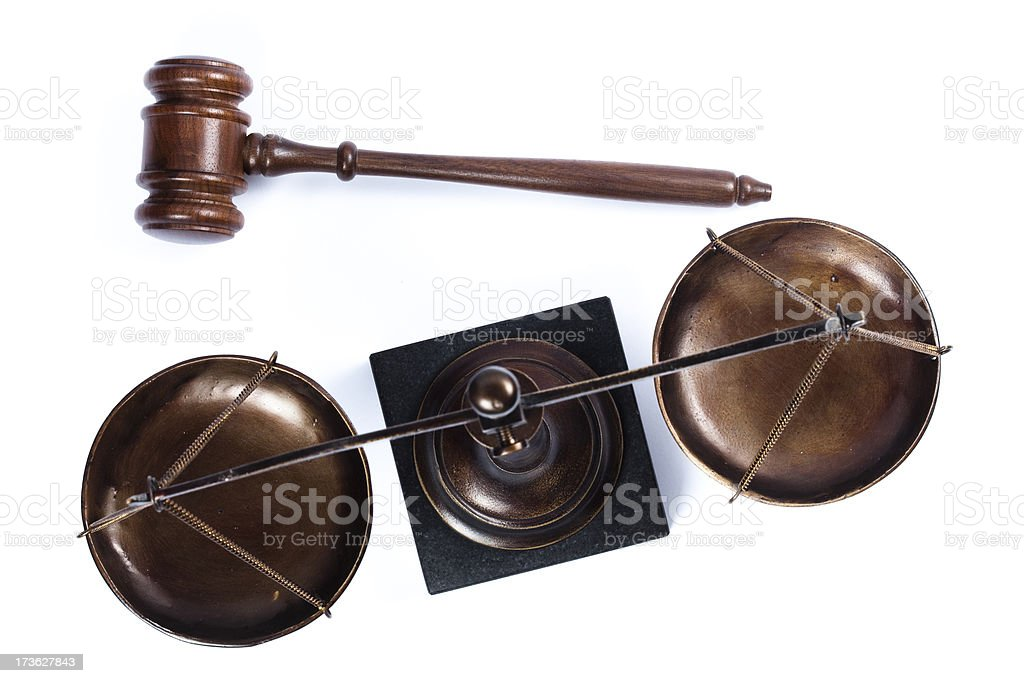 Gavel and scale of justice from above royalty-free stock photo