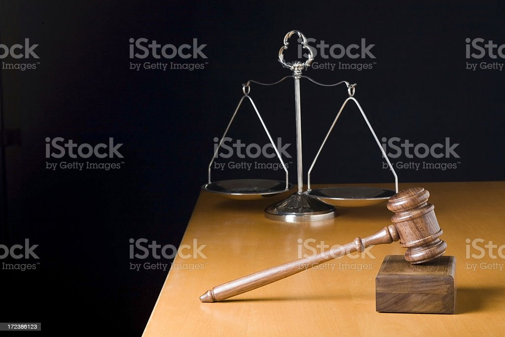 Gavel and Scale of Justice royalty-free stock photo
