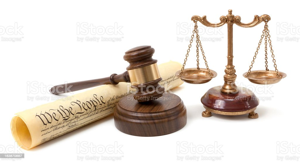 Gavel and scales of justice royalty-free stock photo