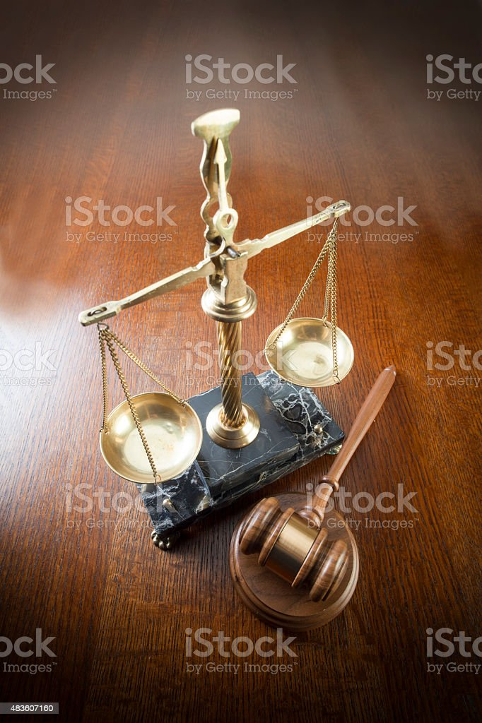 Gavel and Scales of Justice stock photo