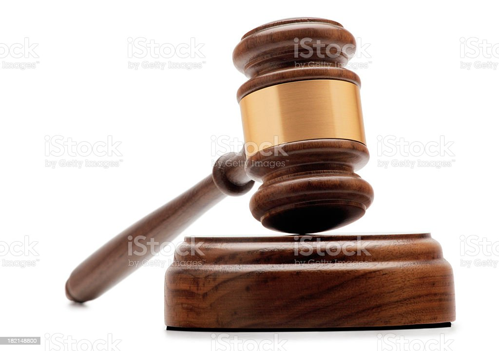Gavel and Sound Block On White Background stock photo