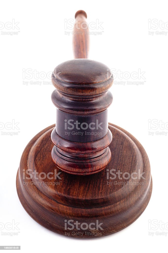 Gavel and Soundblock on white royalty-free stock photo
