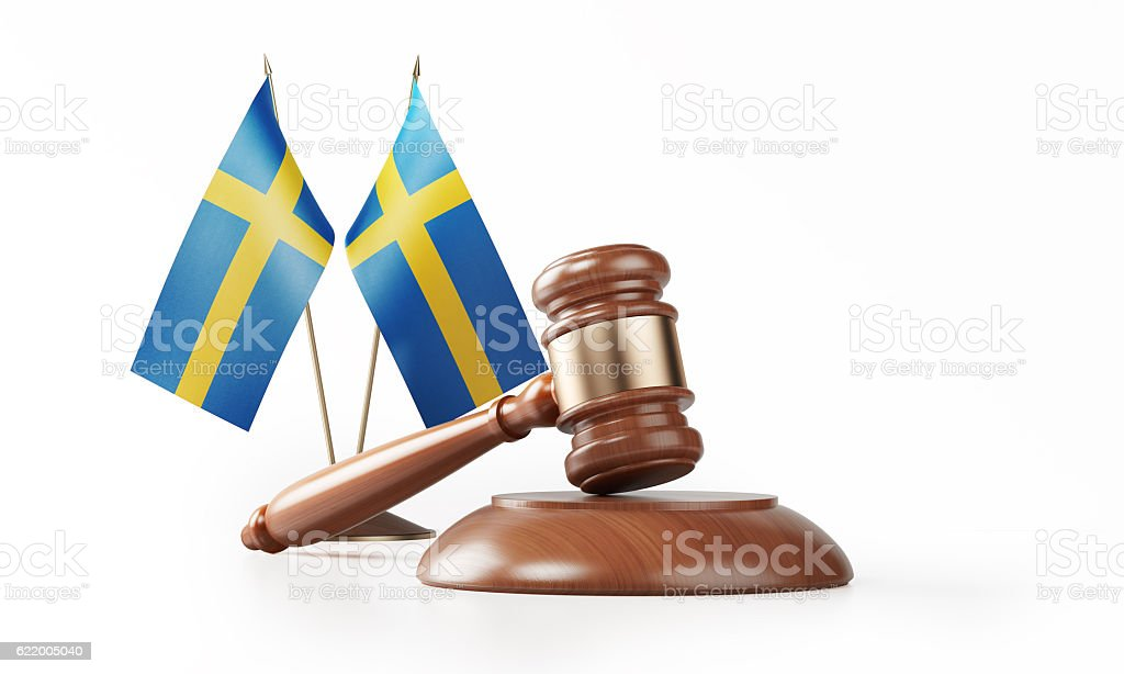 Gavel and Swedish Flags Isolated on White: Swedish Justice Concept stock photo