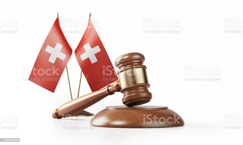 Gavel and Swiss Flags Isolated on White: Swiss Justice Concept stock photo