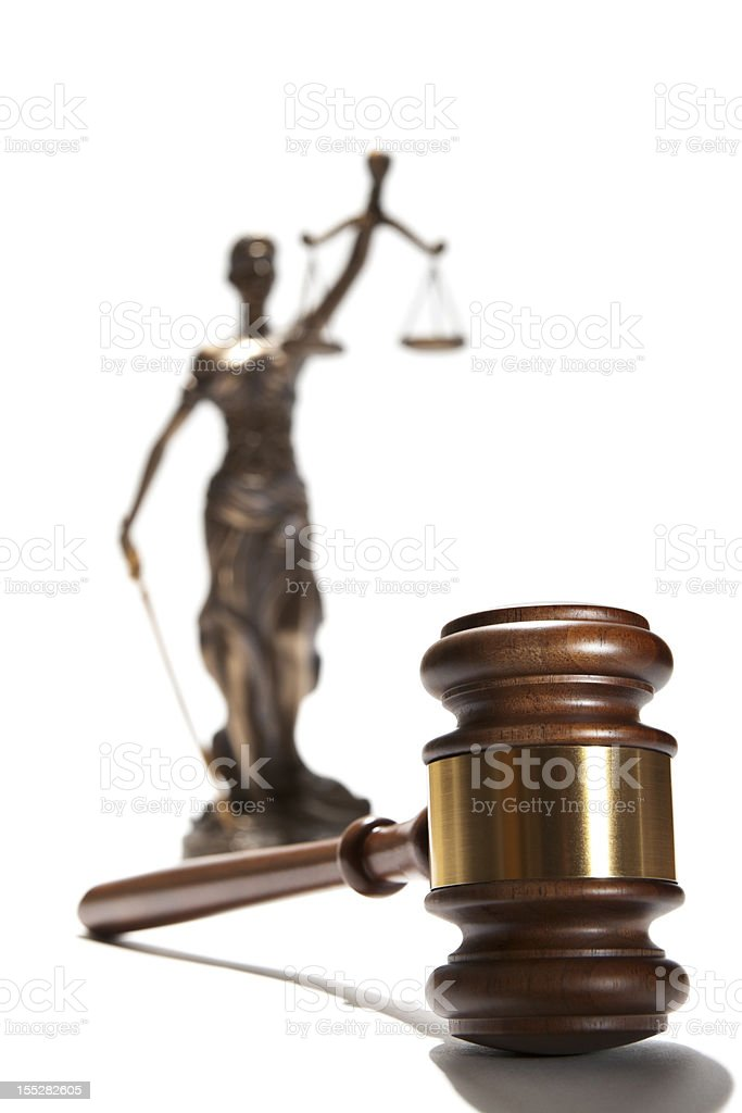 Gavel and Themis royalty-free stock photo