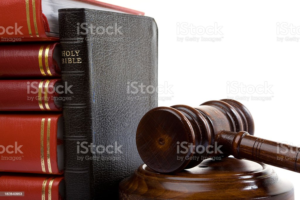 Gavel, Bible And Law Books On White Background stock photo