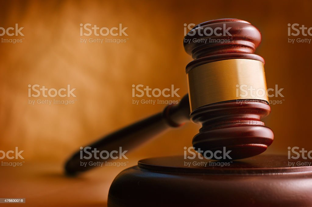 Gavel close up. stock photo