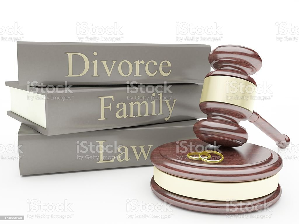 Gavel, divorce law books and wedding rings royalty-free stock photo