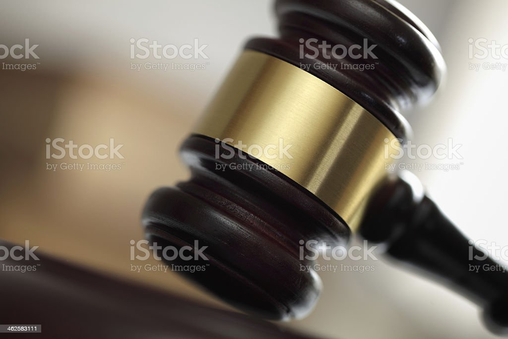 Gavel in court of law stock photo