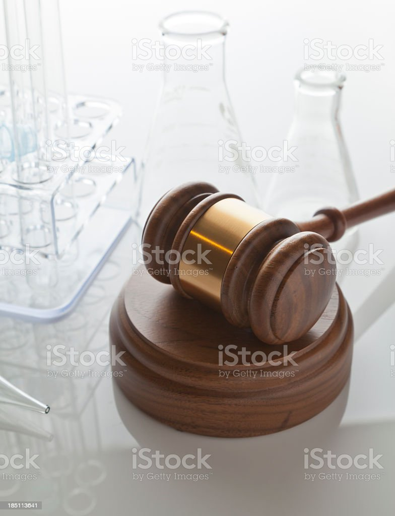 Gavel & Laboratory Equipment royalty-free stock photo