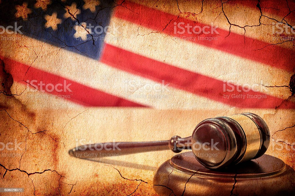 Gavel on a background of the American flag stock photo