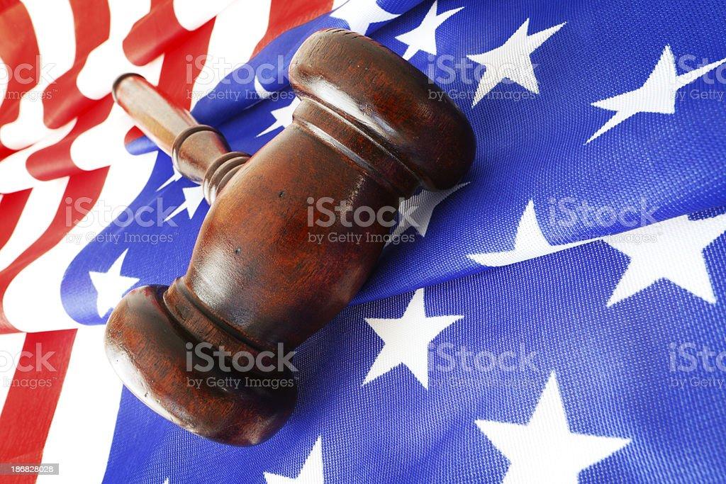 Gavel on American Flag royalty-free stock photo