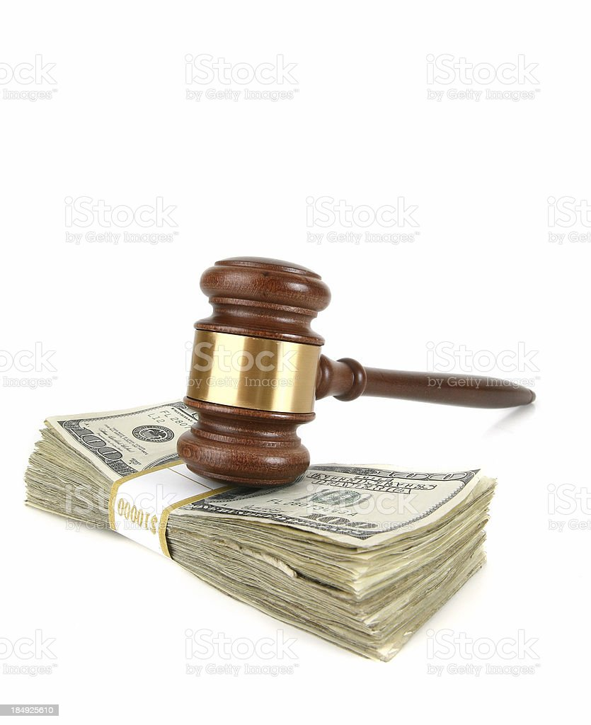 Gavel on Cash royalty-free stock photo