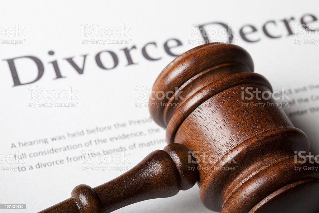 Gavel on divorce decree royalty-free stock photo