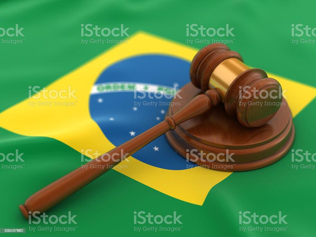 Gavel on flag of Brazil stock photo