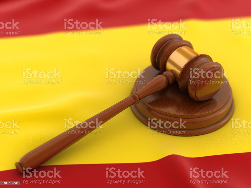 Gavel on flag of Spain stock photo