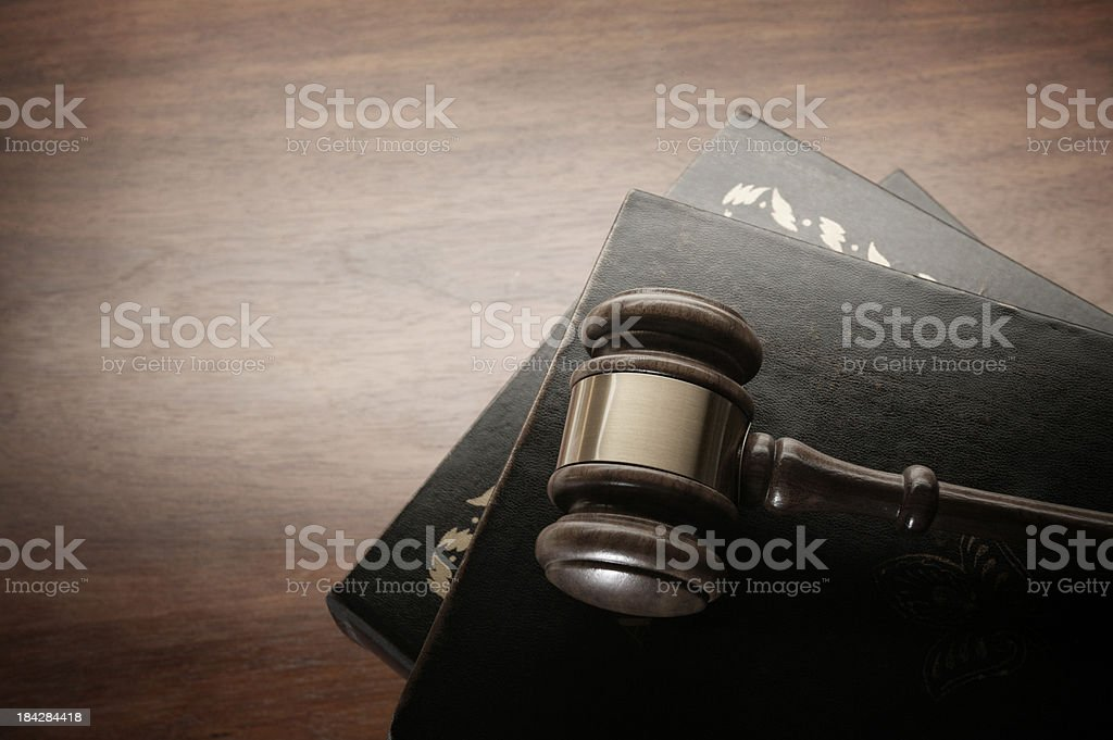 Gavel on Law Books stock photo