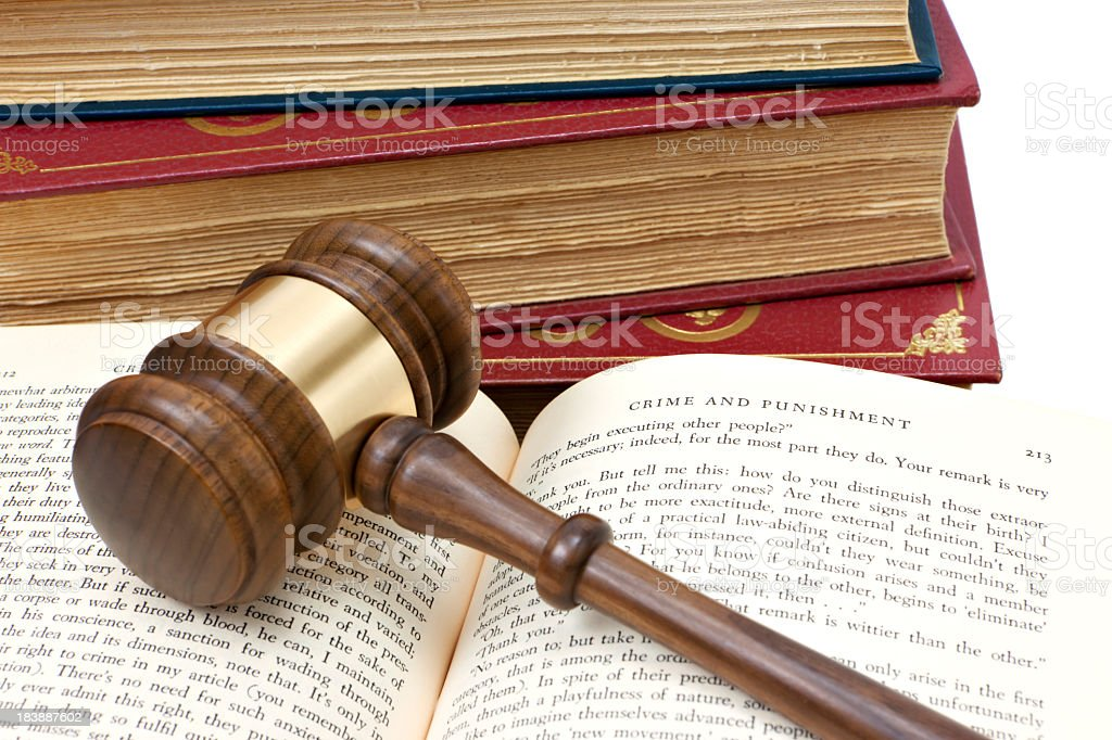 Gavel on open book royalty-free stock photo