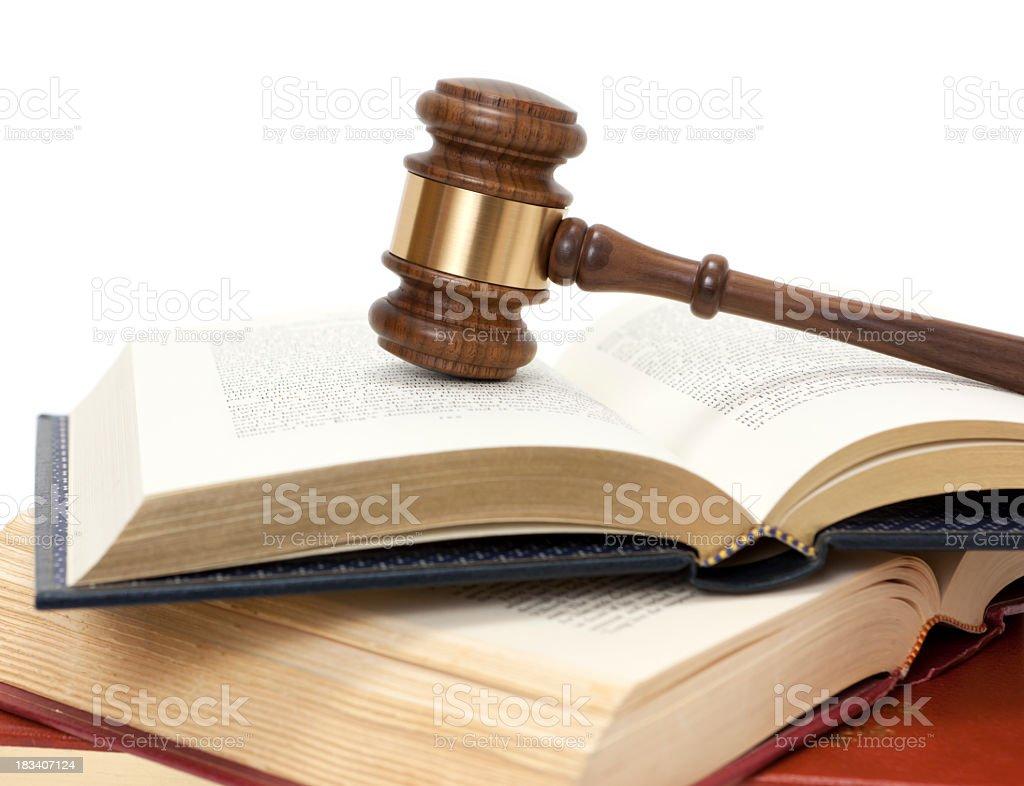 Gavel on open books stock photo