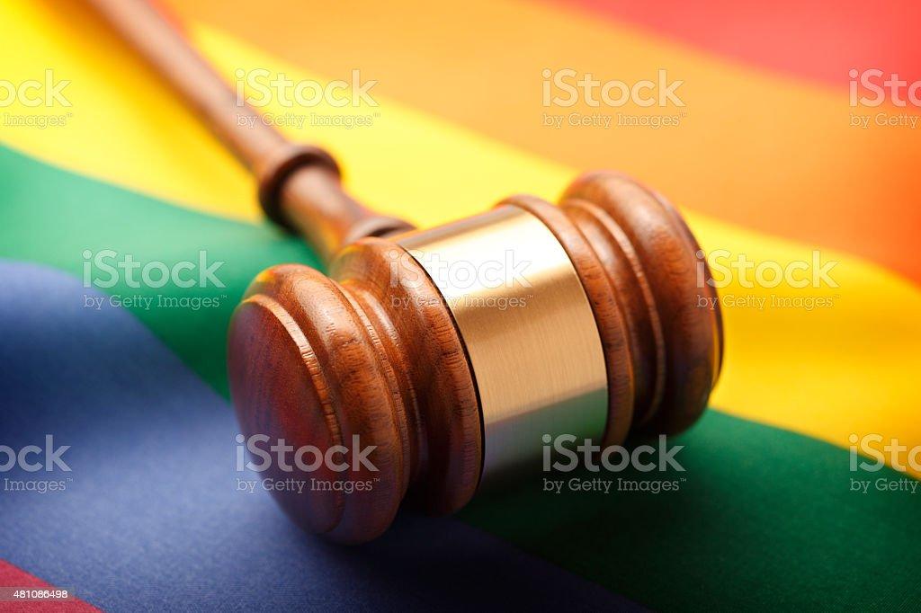 Gavel On Rainbow Flag stock photo