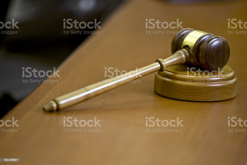 Gavel on Sounding Block with Copyspace Upper Left and Below stock photo