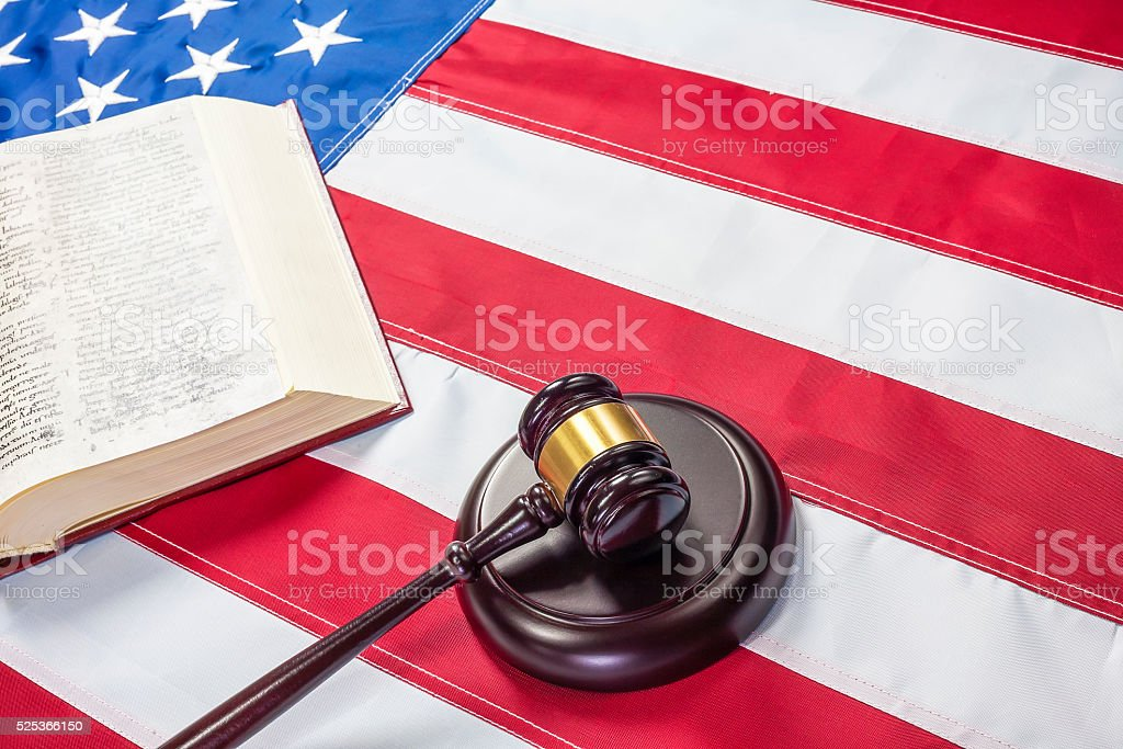 Gavel on the flag of US stock photo
