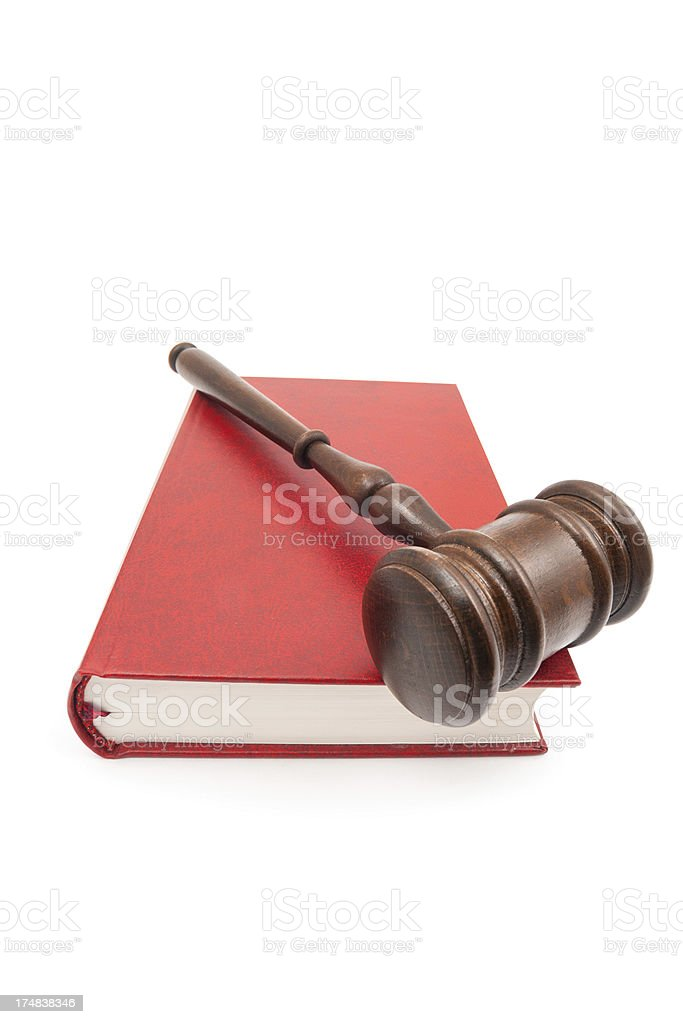 Gavel on the red book royalty-free stock photo