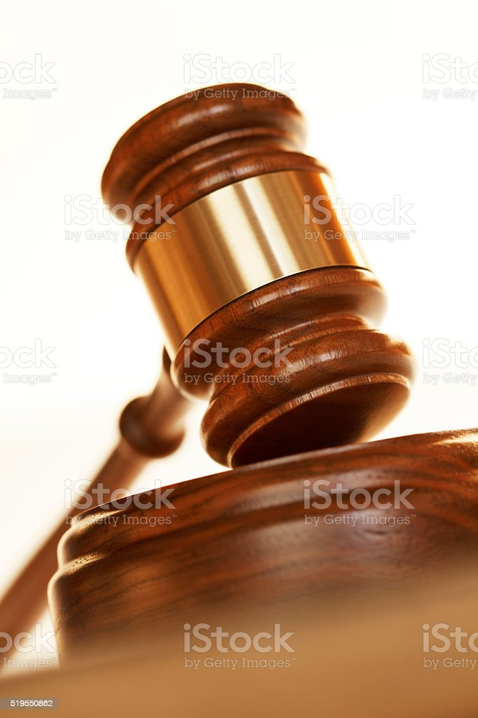 Gavel On Top Of A Sounding Block stock photo