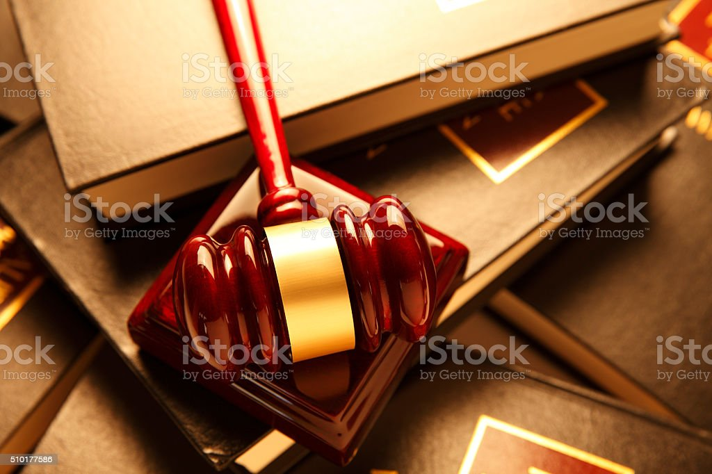 Gavel On Top Of Law Books stock photo