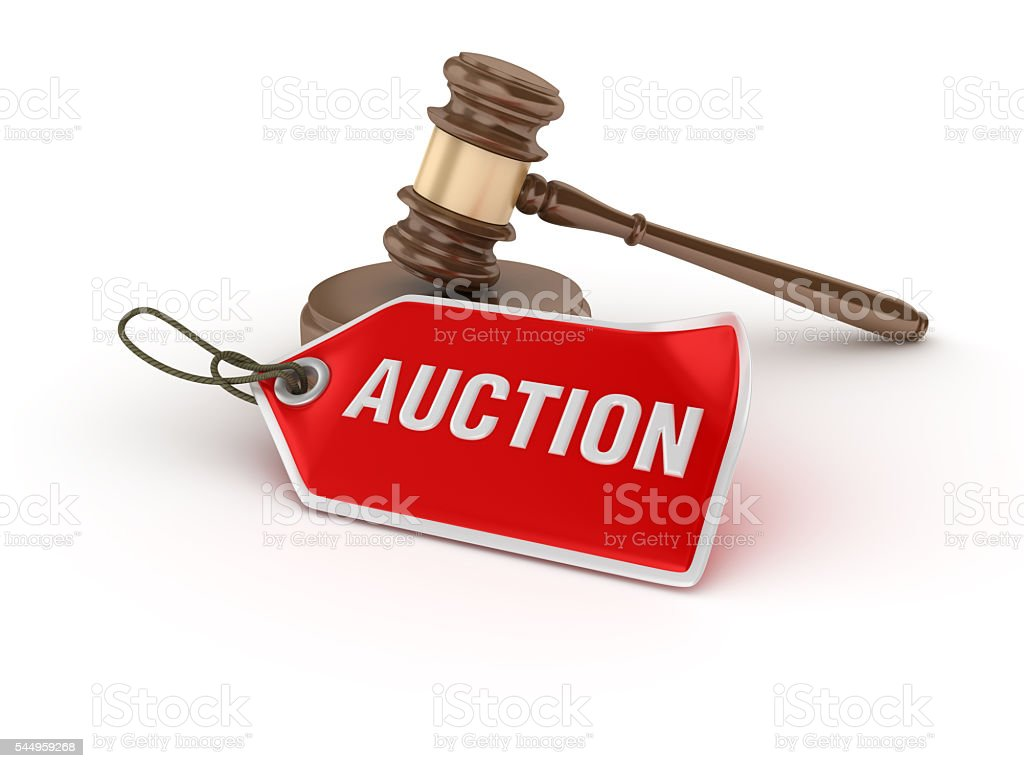 Gavel with Auction Tag stock photo