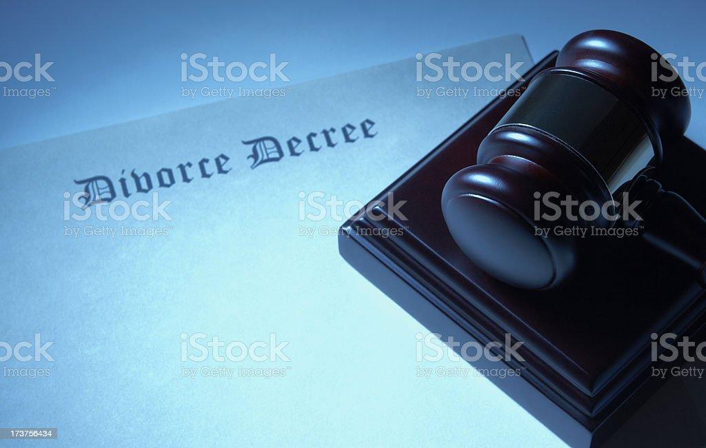 Gavel With Blank Divorce Decree royalty-free stock photo